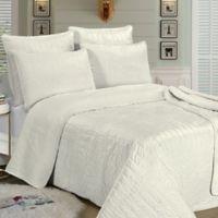 Brielle Velvet Twin Quilt Set in White