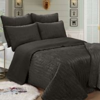 Brielle Velvet Twin Quilt Set in Charcoal