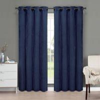 Brielle Velvet 95-Inch Grommet Top Window Curtain Panel in Navy