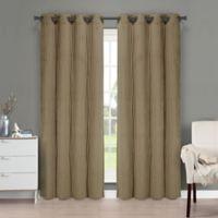 Brielle Velvet 95-Inch Grommet Top Window Curtain Panel in Khaki