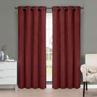 Brielle Velvet 95-Inch Grommet Top Window Curtain Panel in Burgundy
