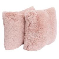 Thro Chubby Faux Fur Square Decorative Pillows in Rose (Set of 2)