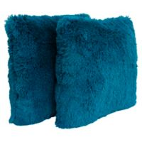Thro Chubby Faux Fur Square Decorative Pillows in Ocean (Set of 2)