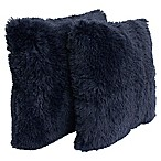Thro Chubby Faux Fur Square Decorative Pillows in Night (Set of 2)