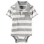 OshKosh B'gosh® Size 9-12M Stripe Polo Bodysuit in Grey/White