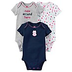 carter's® Size 3M 3-Pack Owl Short Sleeve Bodysuits in Navy