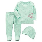 carter's® Newborn 3-Piece Elephant Shirt, Footed Pant and Hat Set in Mint/Pink