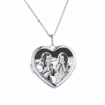 With You Lockets Sterling Silver 18-Inch Chain Glass Nina Photo Locket Necklace