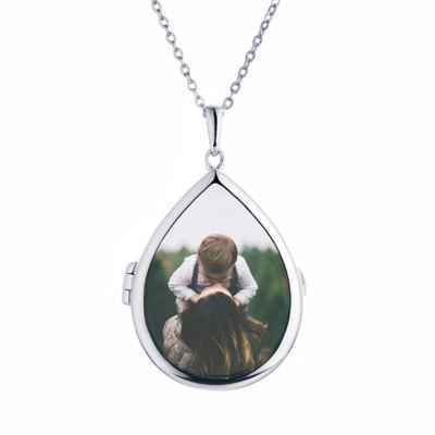 With You Lockets Sterling Silver 18-Inch Chain Glass Sky Photo Locket Necklace
