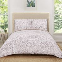Truly Soft Water Color Paisley Reversible King Quilt Set in Blush