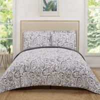 Truly Soft Water Color Paisley Reversible Twin XL Quilt Set in Grey