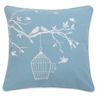 Levtex Home Aisha Bird And Cage Square Throw Pillow in Teal