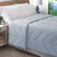 Allied Home Chevron Luxe Quilted King Blanket in Light Blue