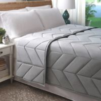 Allied Home Chevron Luxe Quilted Full/Queen Blanket in Soft Grey
