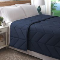 Allied Home Chevron Luxe Quilted King Blanket in Navy