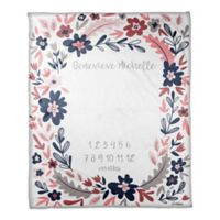 Designs Direct Navy Florals Milestone Throw Blanket in Pink