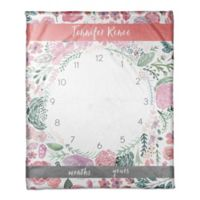 Designs Direct Pink Florals Milestone Throw Blanket in Pink