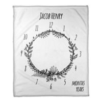 Designs Direct Floral Wreath Milestone Throw Blanket in White