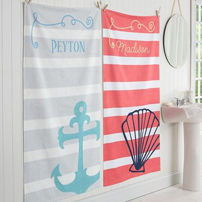 Nautical Personalized Bath Towel
