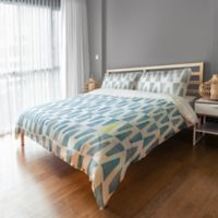 Designs Direct Watercolor Triangles Queen Duvet Cover in Blue