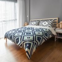 Designs Direct Dotted Squares King Duvet Cover in Blue