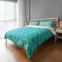 Designs Direct Abstract Quatrefoil King Duvet Cover in Teal