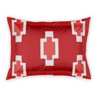 Designs Direct Tribal Block Pattern King Pillow Sham in Red