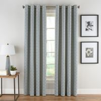 Boratta Geo 95-Inch Grommet Top Window Curtain Panel in Silver Blue