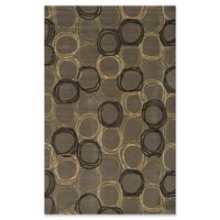 Momeni Elements Circles 2' x 3' Accent Rug in Grey