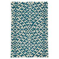 Jaipur Keene 5' x 7'6 Indoor/Outdoor Hand Hooked Area Rug in Cream/Teal