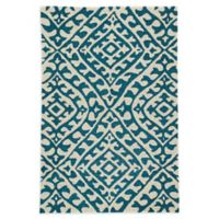 Jaipur Keene 7'6 x 9'6 Indoor/Outdoor Hand Hooked Area Rug in Cream/Teal