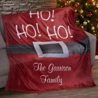 Ho Ho Ho Santa Belt Fleece Blanket