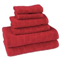 American Dawn Cobblestone 6-Piece Towel Set in Red