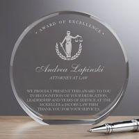 Attorney Round Crystal Award