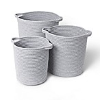 Blomus Round Woven Cotton Baskets in Grey (Set of 3)