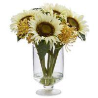 Nearly Natural 13-Inch Sunflower & Sedum Artificial Arrangement in White
