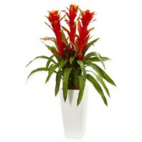 Nearly Natural Bromeliad Artificial Plant with White Planter