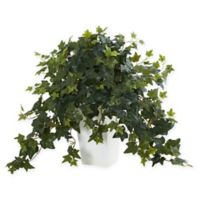 Nearly Natural Puff Ivy Artificial Plant with White Vase