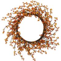 Nearly Natural 24-Inch Sweet Bitter Wreath in Orange