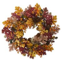 Nearly Natural 24-Inch Oak Leaf/Acorn/Pine Wreath in Orange