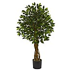 Nearly Natural 4-Foot Ficus Artificial Tree with Planter