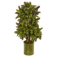 Nearly Natural 3.5-Feet Croton Artificial Plant in Green Tin Planter
