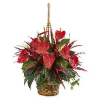 Nearly Natural 24-Inch Mixed Anthurium Artificial Plant with Hanging Basket