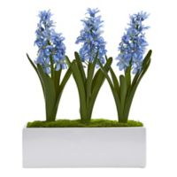 Nearly Natural 14-Inch Artifical Hyacinth Plants in White Rectangular Planter
