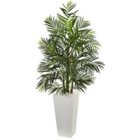 Nearly Natural 5-Foot Artifical Areca Palm Tree in White Tapered Planter
