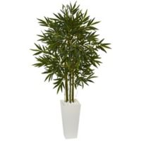 Nearly Natural 6-Foot Bamboo Tree with Tower Planter in White