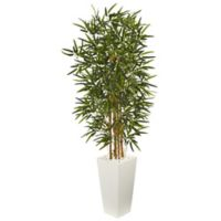 Nearly Natural 5-Foot Bamboo Tree with Tower Planter in White