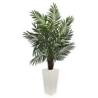 Nearly Natural Areca Artificial Palm Tree with White Tower Planter