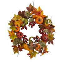 Nearly Natural 24-Inch Berry and Maple Leaf Wreath