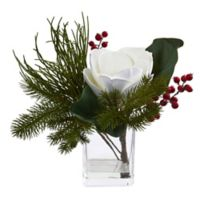 Nearly Natural 13-Inch Magnolia & Berries Artificial Arrangement in White